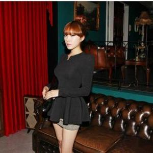 Black Fashion korea Puff Long sleev..