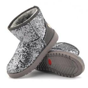 Shiny Sequinned Flat Short Ugg Boot..