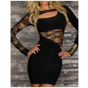 New Sexy Black Clubwear Dresses Lac..