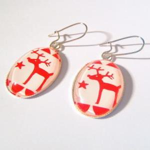 Red Santa Reindeer Earrings with St..