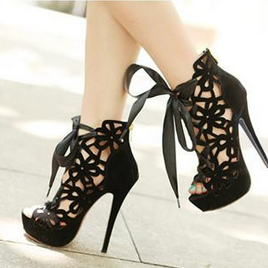 Peep-Toe Floral Caged Stiletto Heel..