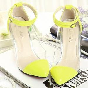 Pointed-Toe Transparent Ankle Strap..