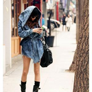 Fashion Women Lady Denim Trench Co..