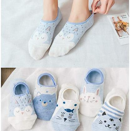 5Pairs Women Cute Cat Socks 4000089..