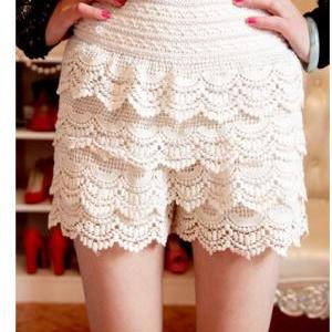 Fashion Women Sweet Crochet Lace Ti..