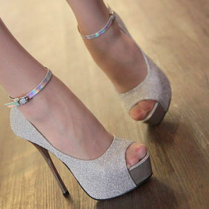 Party Wear White Ankle Strappy Peep..