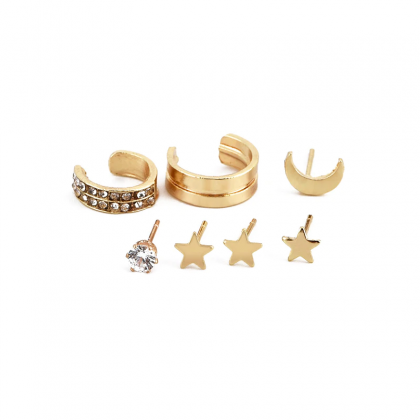 7Pcs/set Star Moon Crystal Ear Cuff..