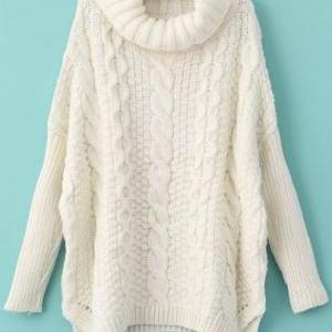 554462fff645 ... Casual White Long Sleeve Turtleneck Chunky Cable Knit Sweater. Autumn  New Fashion Sweaters Women .. Autumn New Fashion Sweaters Women .