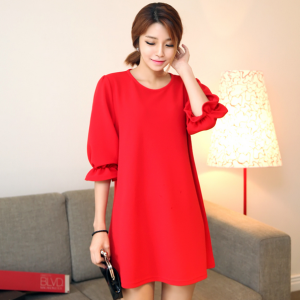 Round Neck Basic Shift Dress with R..