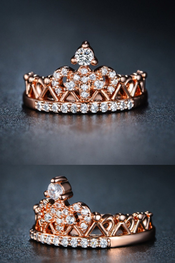 FREE SHIPPING* Exquisite Crown Shaped Ring Rose Gold Color CZ ...