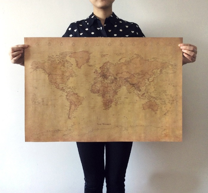 Free shipping the old world map huge large vintage style retro free shipping the old world map huge large vintage style retro paper poster home wall decoration 32526840122 gumiabroncs Image collections