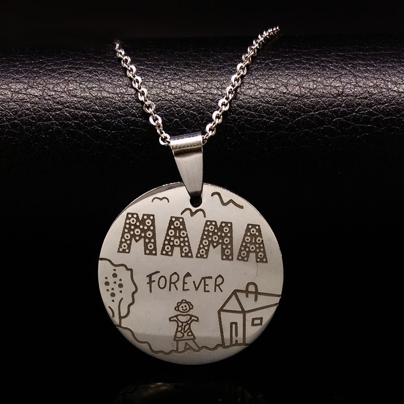 *Free Shipping* Family Necklaces Stainless Steel Mama Forever Boy Girl Pendants Necklace Jewelry Women Kids Family Member Christmas Gift N2407 32732898998