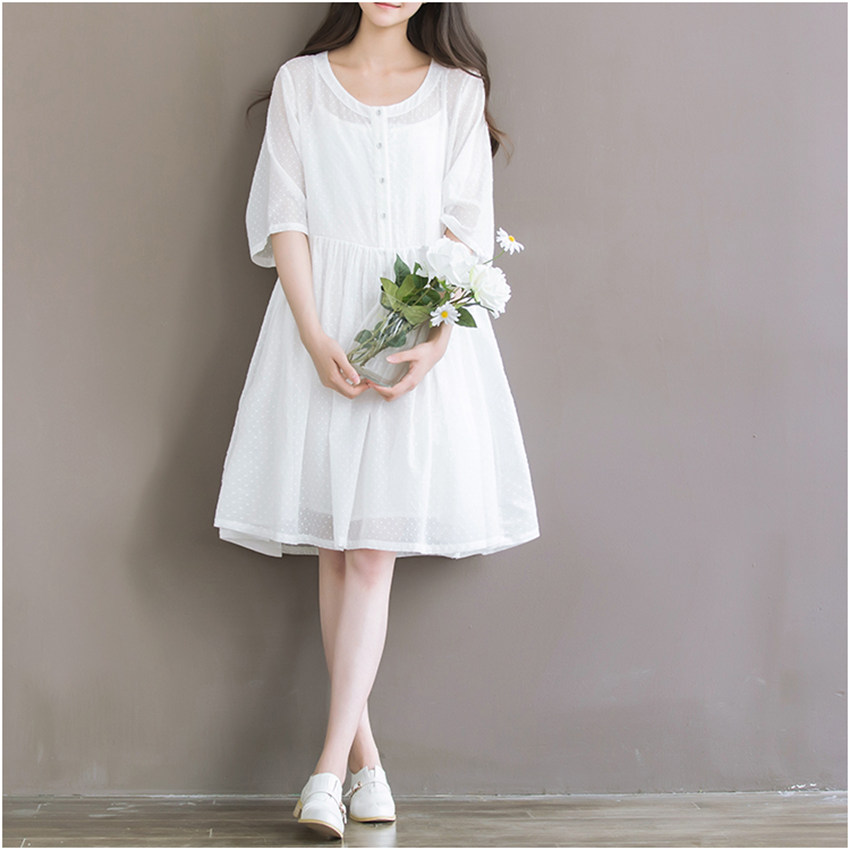 *Free Shipping* Summer Chiffon Dress White Color High Waist Women Dress Half Dress O Neck Two Pieces Cotton Dress Size S-2XL 32695349144