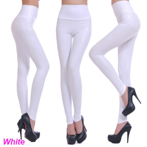 Sexy Women Faux Leather Stretch High Waist Leggings Pants Tights 4 Size 19 Colors 32934303059