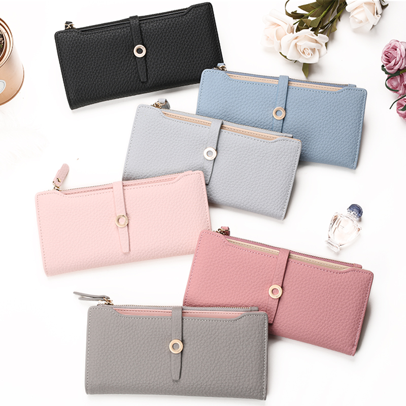 Top Quality Latest Lovely Leather Long Women Wallet Fashion Girls Change Clasp Purse Money Coin Card Holders wallets Carteras 32762640203