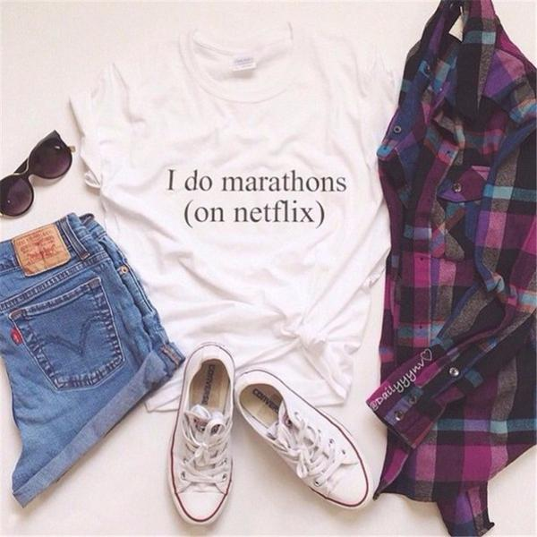 *Free Shipping* Hipster Stylish Women's Casual Black White Letters I Do Marathons On Netflix Printing Cotton T-shirt 32662113249