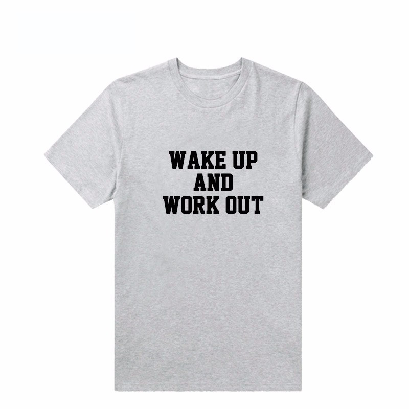*Free Shipping* WAKE UP AND WORK OUT White Letter Print Women's Summer Vogue Funny Hipster Harajuku Cotton Fashion T Shirt Top Tee 32732668647