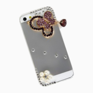 Popular 3D Butterfly Diamonds Plastic Clear Case for iPhone 5