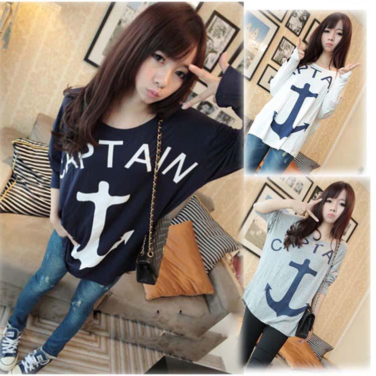 HOT CASUAL WILD LONG-SLEEVED ROUND NECK LOOSE ANCHOR PRINTING BATWING SLEEVE T-SHIRT WF-4443