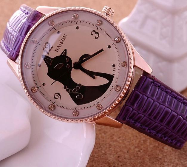 W109 2013 Hot Sale Cat Watches Women Fashion Lady Dress Watch Vintage PU Leather Strap Watches