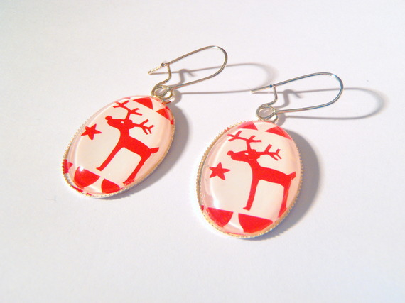 Red Santa Reindeer Earrings with Stars Winter Handmade