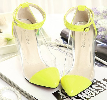 Pointed-Toe Transparent Ankle Strap Stilettos, High Heels