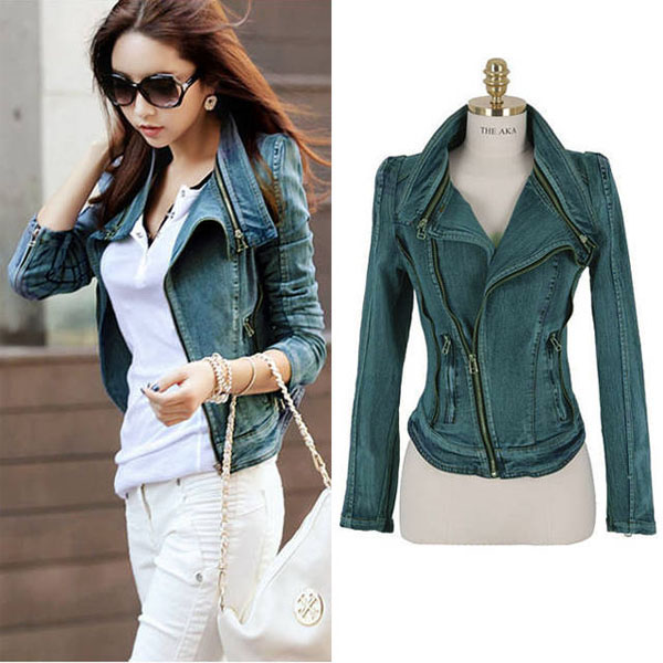 New Women Denim Jean Jacket Oblique ZIP Slim Top Short Motorcycle ...