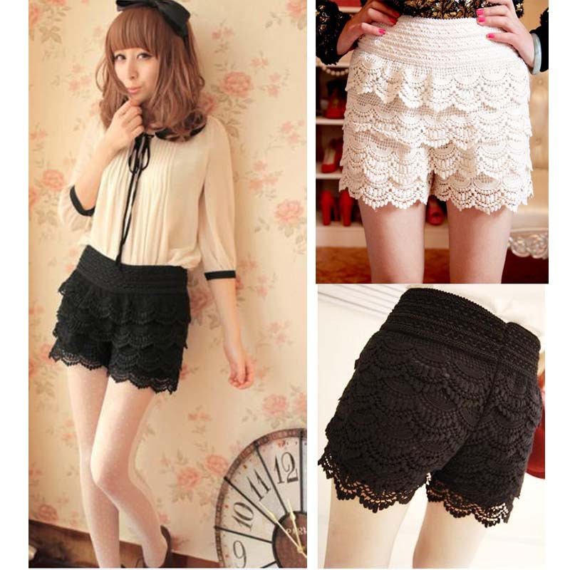Fashion Women Sweet Crochet Lace Tiered Short Skirt Under Safety Pleated Pants Elastic Waist G0163
