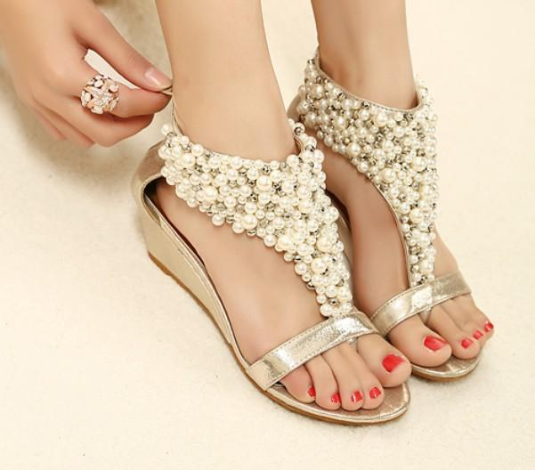 Rome Shiny Beaded Wedge Sandals Low-heeled Wedding Shoes