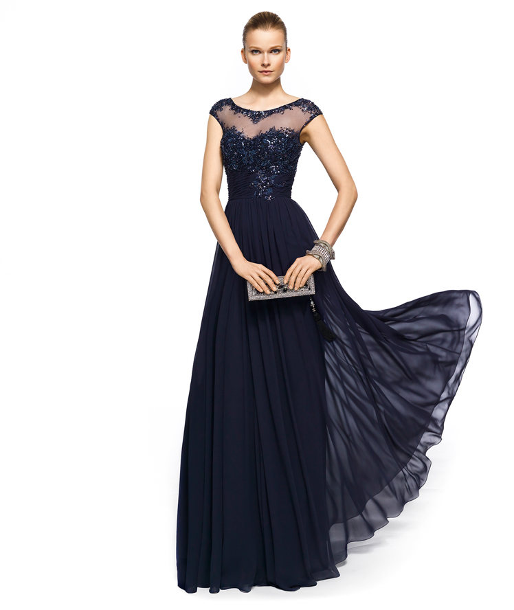 914f91befb3 Vintage Chiffon Navy Blue Lace Crew Illusion Neck Prom Evening Gowns  Appliques Beads Cap Sleeves Plus