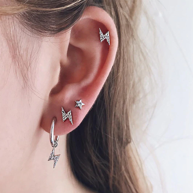 Lightning Stars Crystal Ear Cuff Earrings Personality Punk Jewelry Clip On Earrings Without Piercing Cartilage Clip Ear Rings 4000837954696