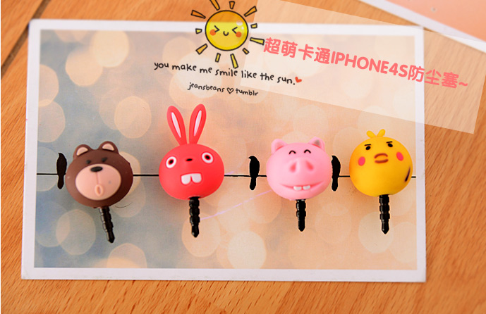For iphone 4 4s for apple 3D dust plugs cartoon earphones dust plug