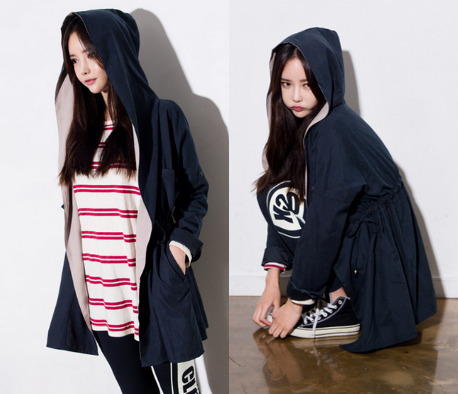 *Free Shipping* Jacket Outerwear Outer Navy Blue Autumn Fall Jumper Stylish Hoody Hood Casual Women 438732660