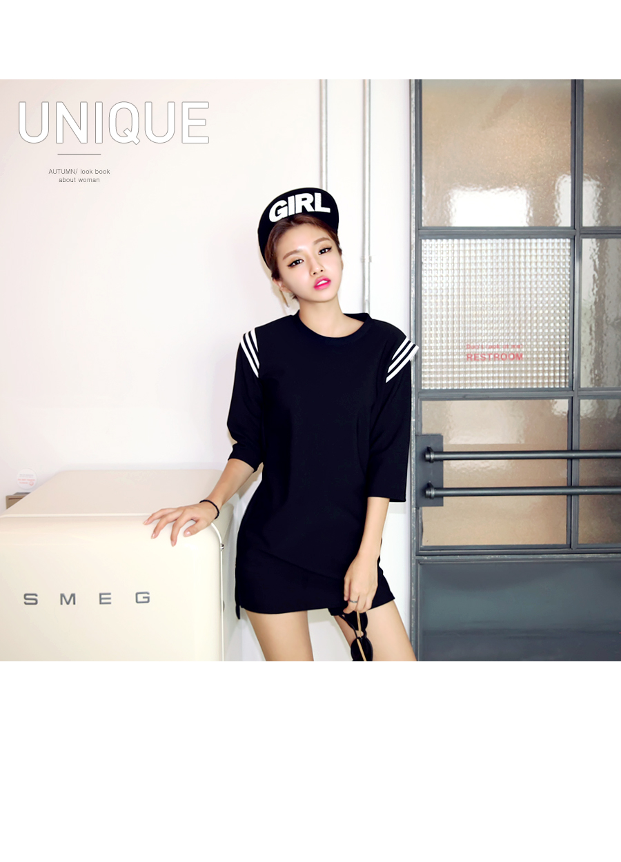 *Free Shipping* Korean Style Black Basic Dress Navy Marine look Loose Fit 477981332 레트로