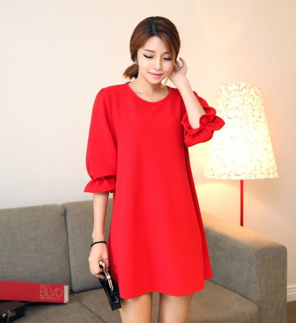 Round Neck Basic Shift Dress with Ruffled Cuffed Sleeves