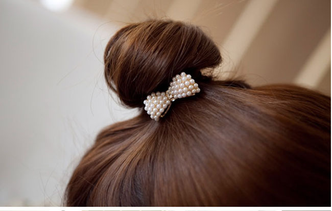 *Free Shipping* New Style Hair Ornaments Full Pearl Bowknot Elastic Hair Accessories SF018