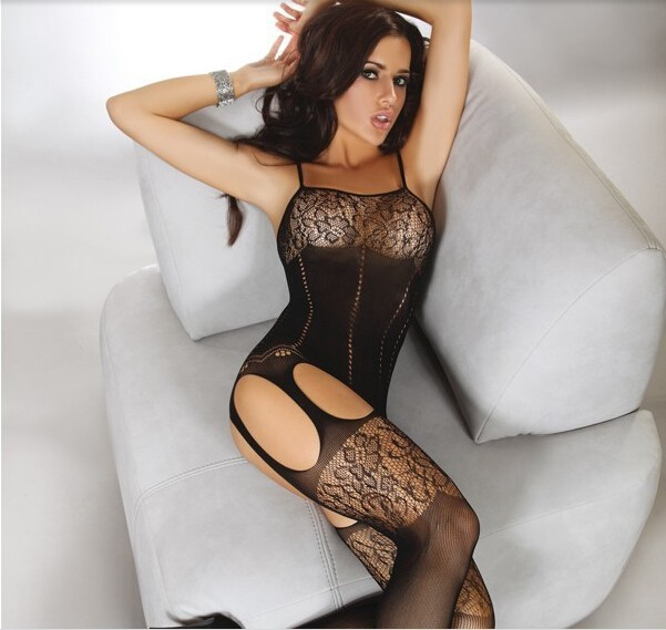 *Free Shipping* Sexy lingerie women black sexy bodystocking open file leotard netting process for fine Italian jacquard