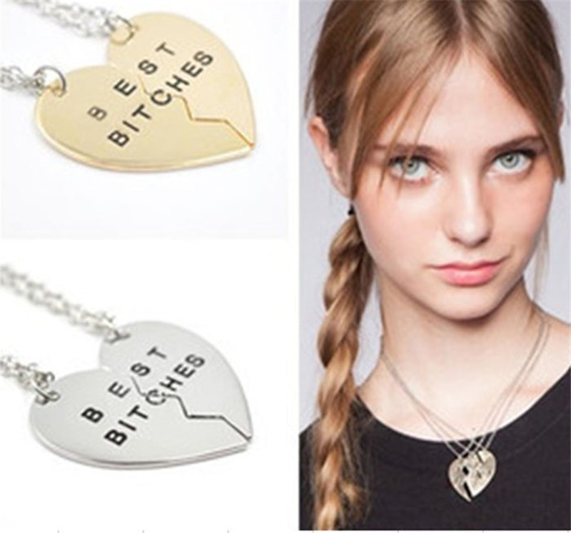 *Free Shipping* Fashion vintage Broken Heart 2 Parts Gold Best Bitches pendant Necklace Jewelry For Women