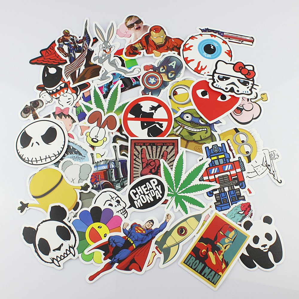 *Free Shipping* 75 pieces/lot stickers Waterproof Skateboard Vintage Vinyl Sticker Laptop Luggage Car Decals mix
