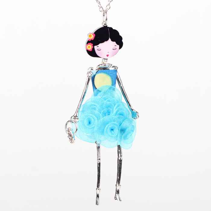 French Paris Doll Necklace Dress Flower Long Chain Alloy Doll Pendant Fashion Jewelry For Women 2015 News Accessories 32257286095