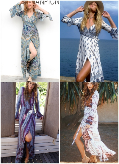 95211b10397 Boho floral print chiffon split long dress Women beach summer v neck kimono  sexy dress Eleagnt sash wrap maxi dresses 32794902044