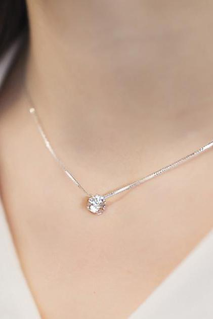 *FREE SHIPPING* 925 pure silver single chain female fashion elegant crystal zircon necklace exquisite silver chain 32696372246