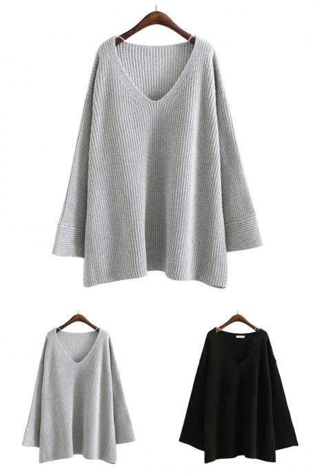 Europe New Autumn Fashion Sexy Casual Loose Pullovers Women Sweater Solid Color Long Flare Sleeves K53502 32827091593