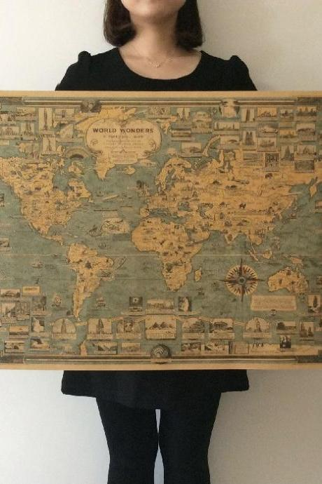 *Free Shipping* World wonders a pictorial map Vintage Style Retro Paper Poster Home wall decoration 32362967450
