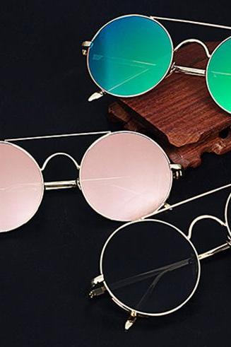 *Free Shipping* Fashion Women Round Pink Mirror Sunglasses Brand Designer Retro Men Punk Goggle Eyewear 32776970023