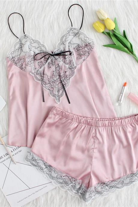 *Free Shipping* Pink Lace Applique Bow Knot Front Cami And Short Pajamas Set Women Summer Spaghetti Strap Sleeveless Sexy Sleepwear 32854069909