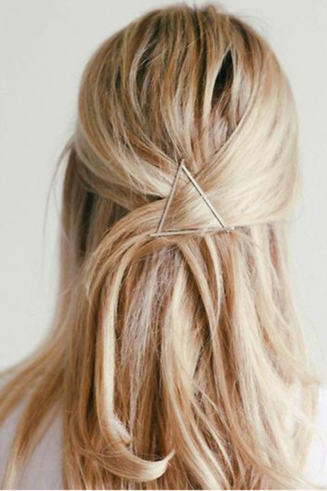 *Free Shipping* Minimalist Hair Clip Metal Geometric Triangle Gold Silver Hair Clips For Girls Hair Barrette Stylish Hair Accessories 32779348956