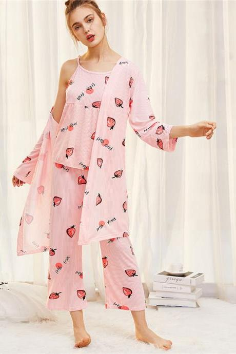 Strawberry Print Pinstriped Cami Pajama Sets 2018 Spring Spaghetti Strap Sleeveless Women Cartoon Nightwear 32851430461