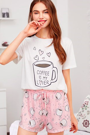 Cups Print Top With Drawstring Waist Shorts Pajama Set 2017 Round Neck Short Sleeve Women Cartoon Cute Pajama Set 32844742016
