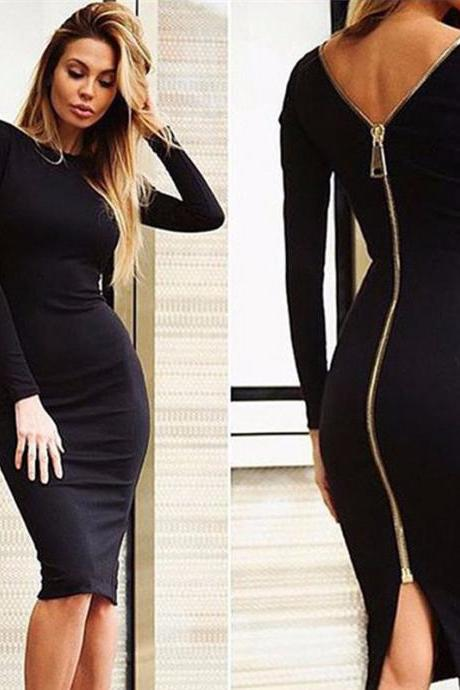*Free Shipping* Women Black Bodycon Sheath Long Sleeve Christmas Party Dresses Long Zipper Robe Sexy Backless Pencil Dress 32851633825